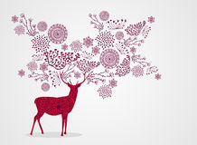 Merry Christmas vintage beautiful reindeer backgro vector illustration