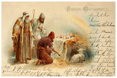 Merry Christmas vintage card. Germany - Circa 1900: Reproduction of antique greeting postcard printed in Germany shows The Christmas Story from the Bible, circa royalty free stock images