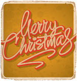 MERRY CHRISTMAS hand lettering vintage card (vector) Royalty Free Stock Photo