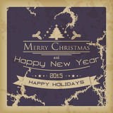 Merry Christmas vintage card. Merry Christmas and happy new year vintage card with a Christmas tree, stars and mistletoe Stock Illustration