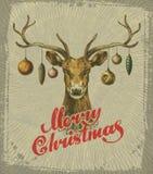 Merry Christmas. Vintage Christmas card. deer Stock Photos