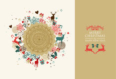 Merry Christmas vintage circle composition Royalty Free Stock Image