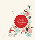 Merry Christmas vintage circle label illustration Stock Image
