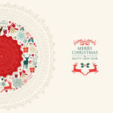 Merry Christmas vintage circle postcard Royalty Free Stock Photo