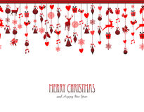 Merry christmas vintage decoration elements in red Stock Photos
