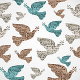 Merry Christmas vintage dove grunge seamless pattern. Royalty Free Stock Photos
