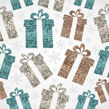 Merry Christmas vintage gifts grunge seamless pattern. Royalty Free Stock Photos