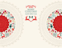Merry Christmas vintage greeting card illustration Royalty Free Stock Photos