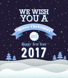 Merry Christmas vintage greeting card. Vector illustration Royalty Free Stock Photos