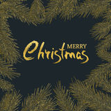 Merry Christmas vintage greeting card. Vector square frame with hand drawn golden fir branches. Royalty Free Stock Photos