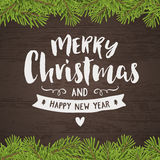 Merry christmas vintage hand-drawing greeting card Royalty Free Stock Images