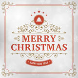 Merry christmas vintage line art greeting card Stock Images