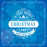 Merry christmas vintage line art greeting card background Royalty Free Stock Images