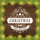 Merry christmas vintage line art greeting card background Stock Photography