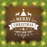 Merry christmas vintage line art greeting card background Stock Photos