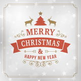 Merry christmas vintage line art greeting card background Stock Photo