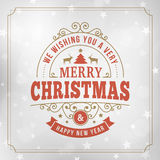 Merry christmas vintage line art greeting card background Royalty Free Stock Photos