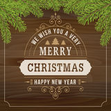 Merry christmas vintage line art on wood plank  background Stock Photography