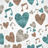 Merry Christmas vintage music love grunge seamless pattern. Royalty Free Stock Photo