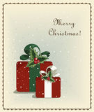 Merry Christmas vintage old greeting card with gift Stock Photography