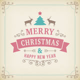 Merry christmas vintage ornament on paper background Stock Images