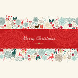 Merry Christmas vintage pattern greeting card Royalty Free Stock Photo