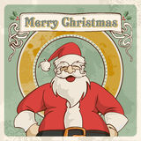 Merry christmas vintage postcard. Merry christmas retro santa greeting card over grunge background. EPS 8 vector, cleanly built with no open shapes or strokes Royalty Free Stock Photo