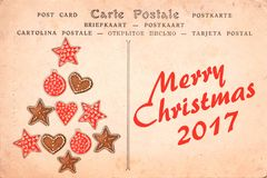 Merry Christmas 2017 on a vintage postcard background. Greeting card Stock Images