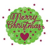 Merry christmas vintage postcard with heart and stars. Merry christmas handmade lettering, merry christmas vintage postcard with heart and stars  in the round Royalty Free Stock Photos