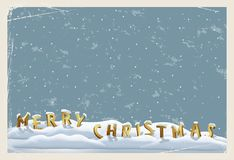 Merry Christmas vintage postcard template. MERRY CHRISTMAS letters standing on snow on grunge blue background. Vector Stock Images