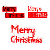 Merry christmas vintage red text with stars snowflakes.  Royalty Free Stock Photo