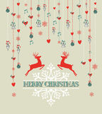 Merry Christmas vintage reindeer and bauble backgr Stock Images