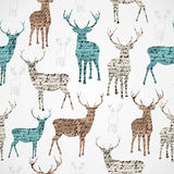 Merry Christmas vintage reindeer grunge seamless pattern. Royalty Free Stock Images