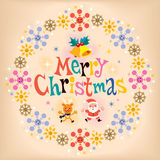 Merry Christmas vintage retro card. Merry Christmas vintage retro style card stock illustration
