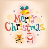 Merry Christmas vintage retro style card Royalty Free Stock Photo