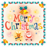 Merry Christmas vintage retro style card Royalty Free Stock Image