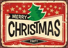 Merry Christmas vintage sign. Christmas party invitation in retro style. Holidays and events theme Stock Photos