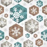 Merry Christmas vintage snowflakes grunge seamless pattern.