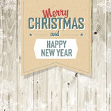 Merry Christmas VIntage Tag Design On Planks Stock Photo