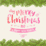 Merry christmas vintage watercolor greeting card Stock Image