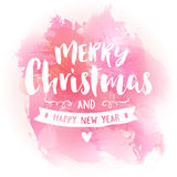 Merry christmas vintage watercolor greeting card Stock Photos