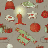 Merry Christmas wallpaper. Seamless pattern with traditional Czech Christmas symbols Stock Image
