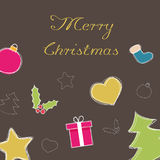 Merry Christmas wallpaper. With decorations Stock Images