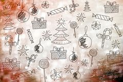 Merry Christmas wallpaper, pattern, background happy new year. Toys Stock Image