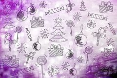 Merry Christmas wallpaper, pattern, background happy new year. Toys Royalty Free Stock Photo