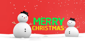 Merry Christmas wallpaper. Text merry Christmas Snowman on ground and snowing Stock Image