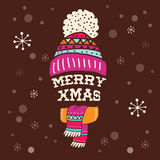 Merry Christmas - warm knitted hat with lettering Royalty Free Stock Image