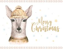 Merry Christmas watercolor card with fawl. Baby deer Happy New Year lettering posters. Nursery winter swowflakes and Stock Photo