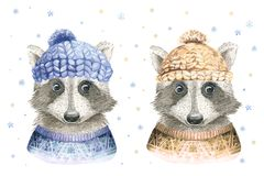 Merry Christmas watercolor card with raccoon and baby deerfloral elements. Happy New Year fawn lettering posters. Winter Stock Photography