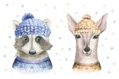 Merry Christmas watercolor card with raccoon and baby deerfloral elements. Happy New Year fawn lettering posters. Winter. Merry Christmas watercolor card stock illustration